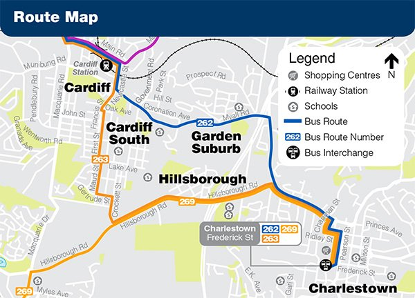 All services on route 263 will divert via Cardiff South between Cardiff Station and Charlestown. Residents in the Cardiff South and Hillsborough area will now have direct connections to Charlestown Square, Cardiff Station and Stockland Glendale with an additional 211 trips per week.