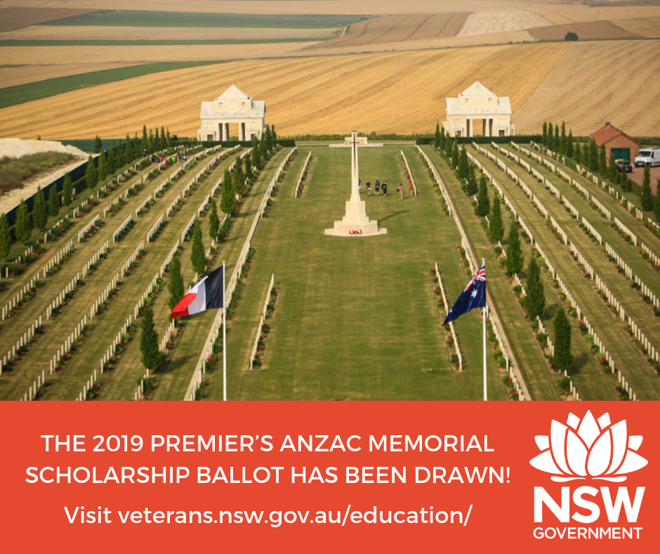 Good news for Charlton Christian College at Fassifern which has been drawn out of the statewide ballot to participate in the 2019 Premier's Anzac Memorial Scholarship.