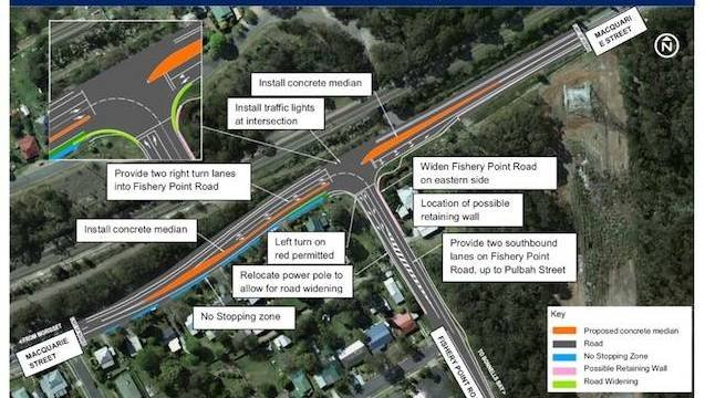 Work on the Fishery Point Road and Macquarie Street intersection at Morisset is ahead of schedule with the new traffic lights expected to be switched on next Thursday December 20.